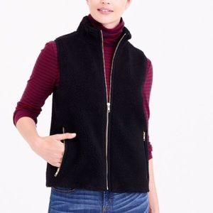 J crew factory fuzzy black faux fur vest